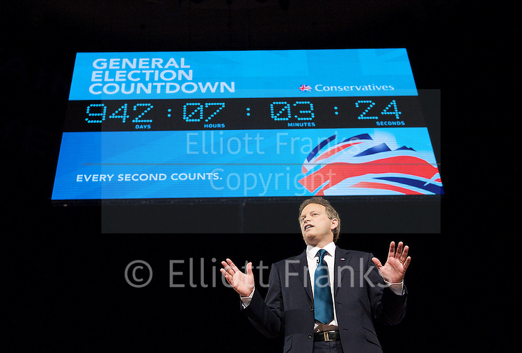Conservative Party Conference, ICC, Birmingham, Great Britain <br /> Day 1<br /> 7th October 2012 <br /> <br /> <br /> Rt Hon Grant Shapps MP<br /> Chairman of the Conservatives <br /> <br /> with general election countdown <br /> <br /> <br /> <br /> Photograph by Elliott Franks<br /> <br /> Tel 07802 537 220 <br /> elliott@elliottfranks.com<br /> <br /> &copy;2012 Elliott Franks<br /> Agency space rates apply