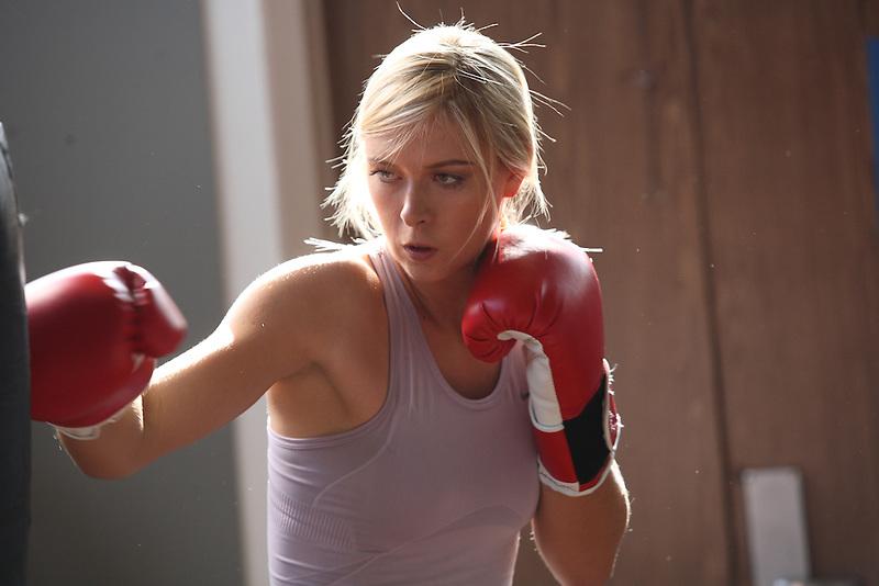 Russian tennis player Anna Kournikova boxing in Los Angles.