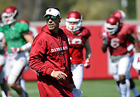 NWA Democrat-Gazette/ANDY SHUPE<br /> Arkansas offensive coordinator Dan Enos directs his players Saturday, April 1, 2017, during practice at the university practice field in Fayetteville. Visit nwadg.com/photos to see more photographs from practice.