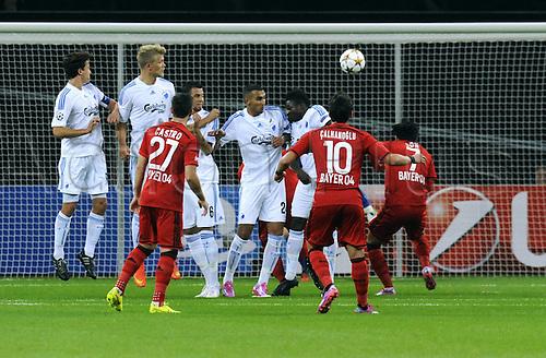 27.08.2014. Leverkusen, Germany. UEFA Champions League qualification match. Bayer Leverkusen versus FC Copenhagen.  Hakan Calhanoglu (Leverkusen) takes the direct free kick and scores for 2:0