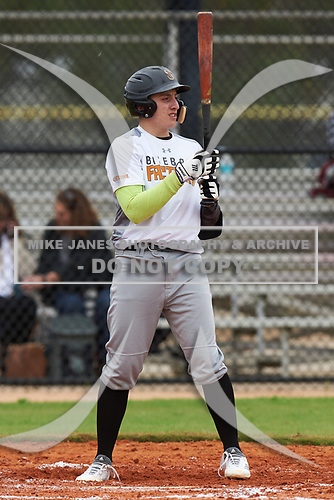 Noah Jouras (15) of Western Springs, Illinois during the Baseball Factory All-America Pre-Season Rookie Tournament, powered by Under Armour, on January 13, 2018 at Lake Myrtle Sports Complex in Auburndale, Florida.  (Michael Johnson/Four Seam Images)