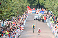 England's Emma Pooley, who eventually went on to finish second in the time trial, leads Australia's Shara Gillow over the finish line<br /> <br /> Photographer Chris Vaughan/CameraSport<br /> <br /> 20th Commonwealth Games - Day 8 - Thursday 31st July 2014 - Cycling - time trial - Glasgow - UK<br /> <br /> © CameraSport - 43 Linden Ave. Countesthorpe. Leicester. England. LE8 5PG - Tel: +44 (0) 116 277 4147 - admin@camerasport.com - www.camerasport.com