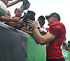 Josh McCown #15 signs autographs for fans after a day of New York Jets Training Camp at the Atlantic Health Jets Training Center in Florham Park, NJ on Monday, Aug. 14, 2017.