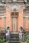 Ubud, Bali, Indonesia; stairs and entrance doors inside the Balinese Hindu temple, Pura Desa