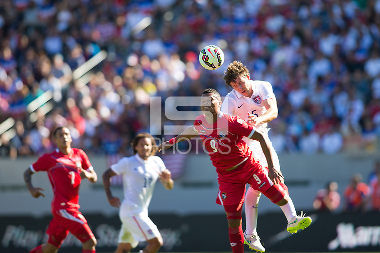 Carson, CA - Sunday, February 8, 2015 Matt Besler (5) of the USMNT goes up for a header with Rolando Blackburn (9) of Panama. The USMNT defeated Panama 2-0 during an international friendly at the StubHub Center.
