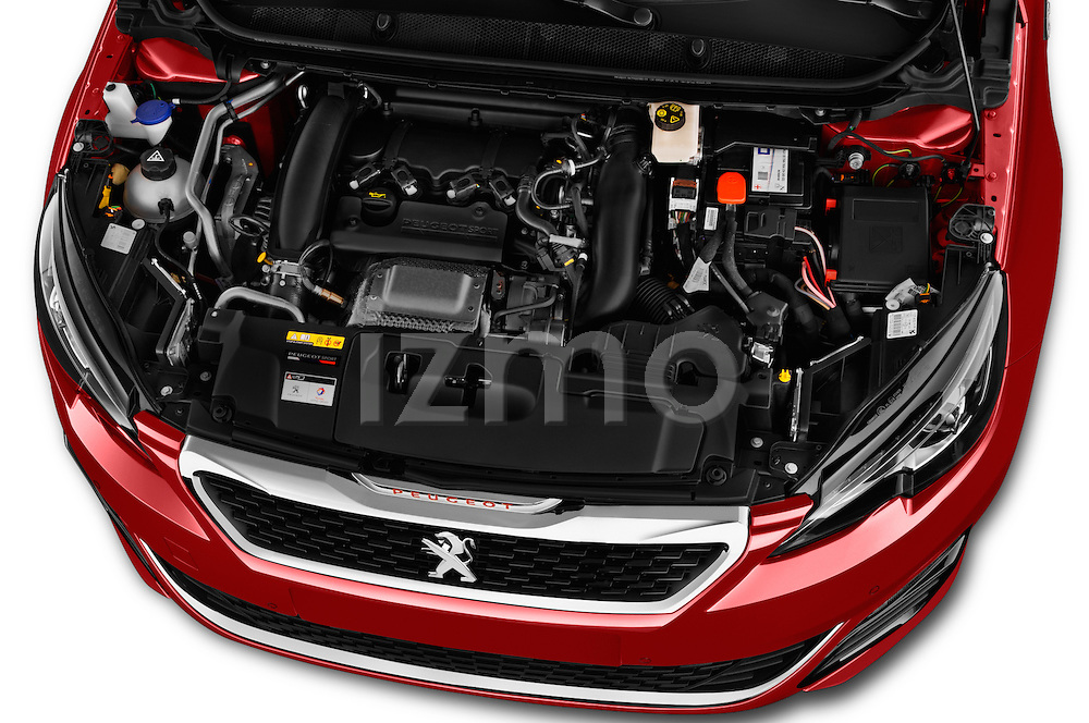 Car Stock 2016 Peugeot 308 GTI 5 Door Hatchback Engine  high angle detail view