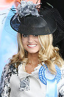 5/8/2010.Blossom Hill Ladies Day.  winner of the best dressed Lady Yvonne Ellard from Tipperary is pictured at the Blossom Hill Ladies Day at the Fáilte Ireland Dublin Horse Show at RDS. Picture James Horan/Collins Photos