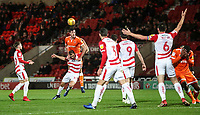 Blackpool's Ben Heneghan and Doncaster Rovers' Herbie Kane<br /> <br /> Photographer Rachel Holborn/CameraSport<br /> <br /> The EFL Sky Bet League One - Doncaster Rovers v Blackpool - Tuesday 27th November 2018 - Keepmoat Stadium - Doncaster<br /> <br /> World Copyright &copy; 2018 CameraSport. All rights reserved. 43 Linden Ave. Countesthorpe. Leicester. England. LE8 5PG - Tel: +44 (0) 116 277 4147 - admin@camerasport.com - www.camerasport.com