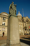 Statue of Queen Victoria and Council House building in Victoria Square Birmingham England