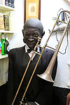 Mannequin figure black male jazz musician inside famous historic Los Gatos Cervecerias bar, Madrid, Spain