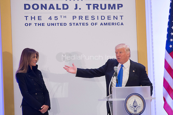 President-elect of The United States Donald J. Trump introduces First Lady-elect Melania Trump to Republican leadership January 19, 2017 the day before his swearing in as 45th President of The United States. <br /> Credit: Chris Kleponis / Pool via CNP /MediaPunch
