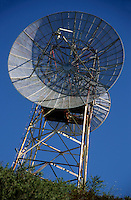 Satellite dish on a communications tower, Bastia, Corsica, France.