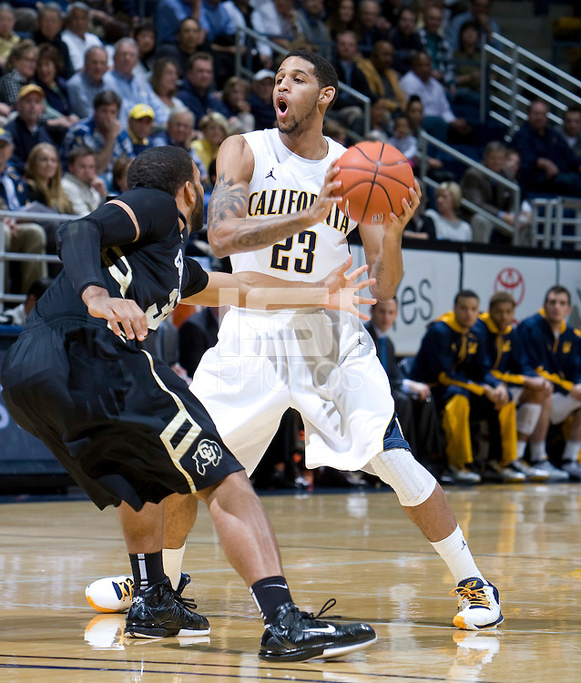Allen Crabbe of California controls the ball away from Colorado defender during the game at Haas Pavilion in Berkeley, California on January 12th, 2012.   California defeated Colorado, 57-50.