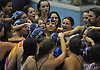 The Bellmore-Merrick girls swimming team gathers during a Nassau County varsity girls swimming meet against Garden City at Nassau Aquatic Center in East Meadow on Tuesday, Oct. 18, 2016.