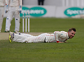 June 11th 2017, Trafalgar Road Ground, Southport, England; Specsavers County Championship Division One; Day Three; Lancashire versus Middlesex; Lancashire skipper Stephen Croft is down but not out as his team dominate the third day's play; Middlesex now lead by 27 runs going into the final day but have only four second innings wickets remaining