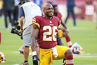 Landover, MD - August 24, 2018: Washington Redskins running back Adrian Peterson (26) before the preseason game between Denver Broncos and Washington Redskins at FedEx Field in Landover, MD.   (Photo by Elliott Brown/Media Images International)