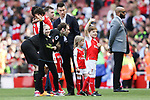 Petr Cech if Arsenal with children during the English Premier League match at the Emirates Stadium, London. Picture date: May 21st 2017.Picture credit should read: Charlie Forgham-Bailey/Sportimage