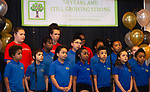 WATERBURY,  CT-051619JS06-  Members of the Children's Community School's Bravo Waterbury!, a collaboration between students and the Waterbury Symphony Orchestra, sing and entertain guests during the 50th anniversary celebration Thursday at La Bella Vista in Waterbury. <br /> Jim Shannon Republican American