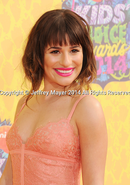 LOS ANGELES, CA- MARCH 29: Actress Lea Michele attends Nickelodeon's 27th Annual Kids' Choice Awards held at USC Galen Center on March 29, 2014 in Los Angeles, California.