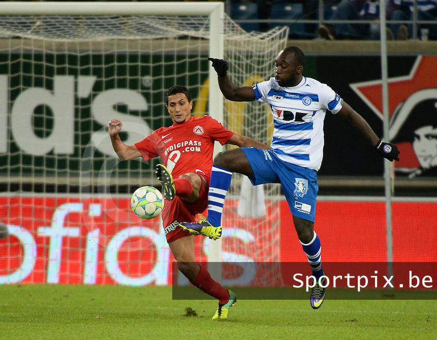 AA Gent - KV Kortrijk : duel tussen Mustapha Oussalah (links) en Herve Kage (rechts)<br /> foto VDB / Bart Vandenbroucke
