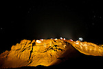 Israel, Judean desert, a light show at the western side of Masada