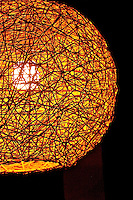 Hanging artistic light fitting asian round woven