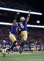 Dante Pettis celebrates his 46 yard touchdown reception.