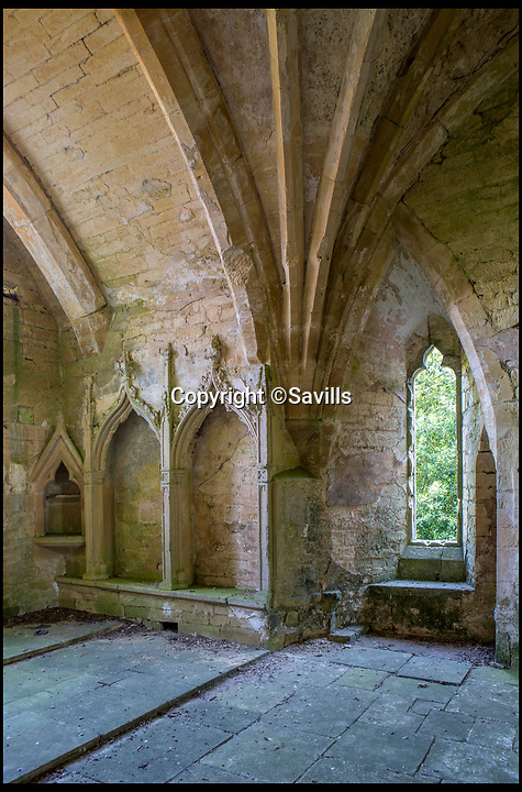 BNPS.co.uk (01202)558833<br /> Pic:   Savills/BNPS<br /> <br /> The alter space inside the Chapel.<br /> <br /> A 800 year old castle that stands over Prince Charles' Highgrove estate and was left a ruin by the Civil War has gone on the market for £10m.<br /> <br /> Beverston Castle, on the outskirts of Tetbury, Gloucs, is only partly habitable today but has a charming seven bedroom manor house built on to it.<br /> <br /> The historic property, that comes with a huge 693 acres of land, had been owned for 70 years by the late showjumper Major Laurence Rook and his wife Jane.<br /> <br /> The couple were famed for the hospitality they laid on to visitors of the week-long Badminton Horse Trials which is nearby.