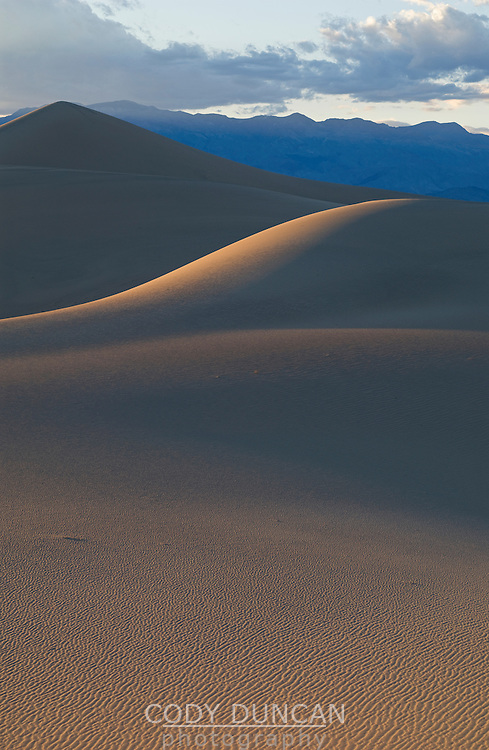 Death Valley sand dunes in evening light, California