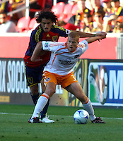 Fabian Espindola and Andrew Hainault in the Real Salt Lake v Houston 0-0 draw win at Rio Tinto Stadium in Sandy, Utah on August 15, 2009
