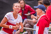 The Hague, Netherlands, 09 June, 2018, Tennis, Play-Offs Competition, Raluca Serban (ROU) and coach Tom Nijssen (NED)<br /> Photo: Henk Koster/tennisimages.com
