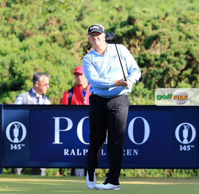 Colin Montgomerie (SCO) tees off the 12th tee during Thursday's Round 1 of the 145th Open Championship held at Royal Troon Golf Club, Troon, Ayreshire, Scotland. 14th July 2016.<br /> Picture: Eoin Clarke | Golffile<br /> <br /> <br /> All photos usage must carry mandatory copyright credit (&copy; Golffile | Eoin Clarke)
