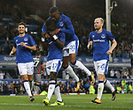 Ademola Lookman of Everton jumps to celebrate with second goal scorer Idrissa Gueye of Everton during the Europa League Qualifying Play Offs 1st Leg match at Goodison Park Stadium, Liverpool. Picture date: August 17th 2017. Picture credit should read: David Klein/Sportimage
