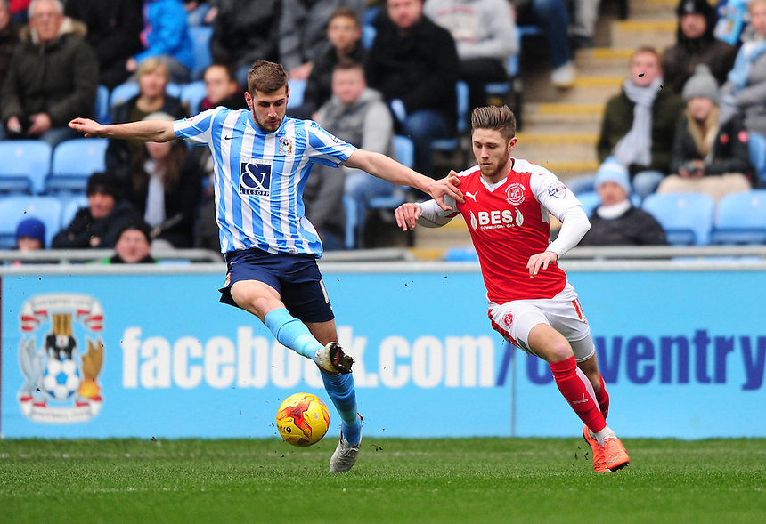 Coventry City's Jack Stephens shields the ball from Fleetwood Town&rsquo;s Wes Burns<br /> <br /> Photographer Chris Vaughan/CameraSport<br /> <br /> Football - The Football League Sky Bet League One - Coventry City v Fleetwood Town - Saturday 27th February 2016 - Ricoh Stadium - Coventry   <br /> <br /> &copy; CameraSport - 43 Linden Ave. Countesthorpe. Leicester. England. LE8 5PG - Tel: +44 (0) 116 277 4147 - admin@camerasport.com - www.camerasport.com