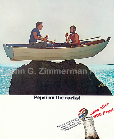 Pepsi on the rocks! Ad, 1966. Photo by John G. Zimmerman.