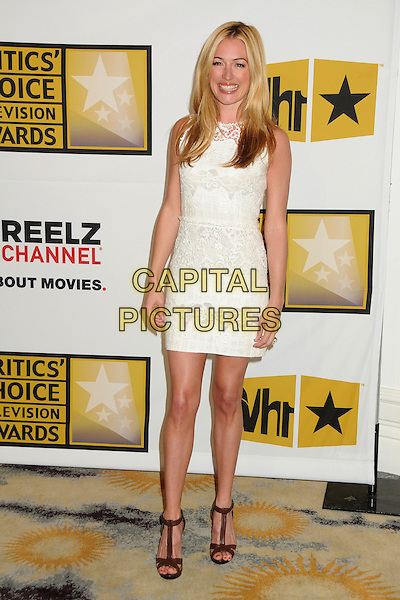 Cat Deeley.1st Annual Critics' Choice Television Awards held at The Beverly Hills Hotel, Beverly Hills, California, USA, .20th June 2011..full length dress sleeveless white  lace cream brown t-bar platform sandals  open toe .CAP/ADM/BP.©Byron Purvis/AdMedia/Capital Pictures.