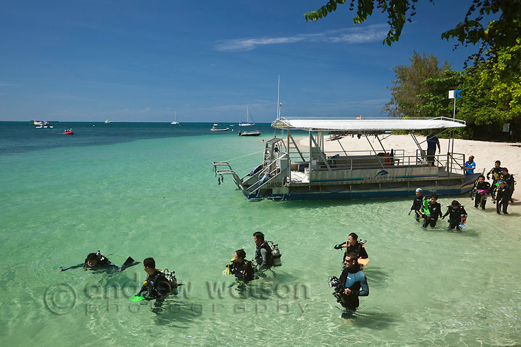 Scuba divers at Green Island - a coral cay off the coast of Cairns.  Great Barrier Reef, Queensland, Australia