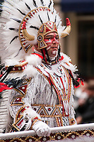 A mummer leads his brigade as it marches north on Broad Street in the Philadelphia Mummer's Parade on New Year's Day 2006.