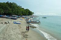the beach at Senggigi Harbour