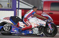 Apr. 26, 2013; Baytown, TX, USA: NHRA pro stock motorcycle rider Hector Arana Sr during qualifying for the Spring Nationals at Royal Purple Raceway. Mandatory Credit: Mark J. Rebilas-
