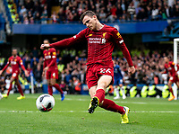 Andrew Robertson of Liverpool during the Premier League match between Chelsea and Liverpool at Stamford Bridge, London, England on 22 September 2019. Photo by Liam McAvoy / PRiME Media Images.