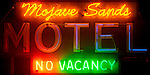 Mojave Sands Motel illuminated neon sign, Joshua Tree, California