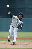Jahmon Taylor #14 of the Coppin State Eagles pitches against the Southern California Trojans at Dedeaux Field on February 18, 2017 in Los Angeles, California. Southern California defeated Coppin State, 22-2. (Larry Goren/Four Seam Images)