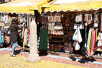 Tourist shopping in the El Parian handicrafts market in the city of Puebla, Mexico