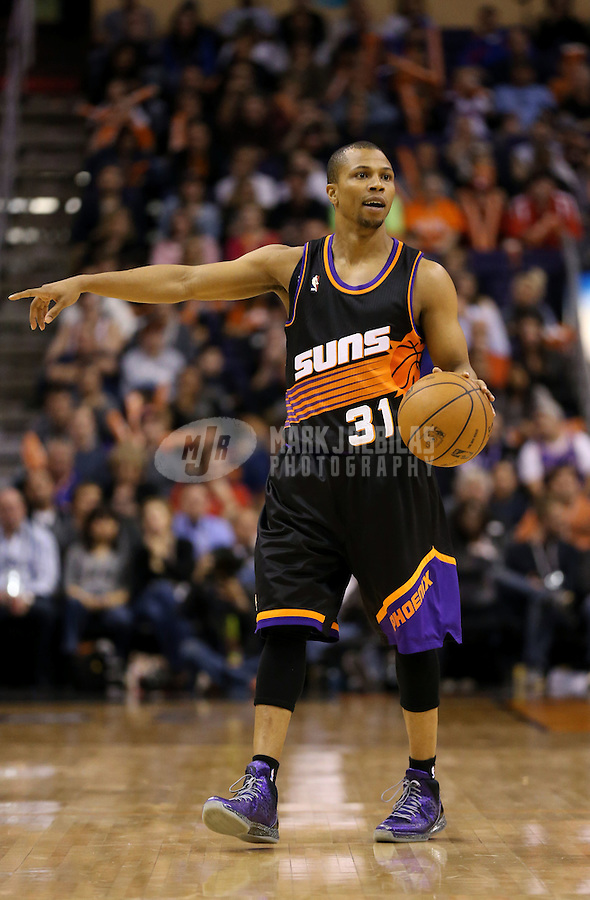 Feb. 10, 2013; Phoenix, AZ, USA: Phoenix Suns point guard Sebastian Telfair against the Oklahoma City Thunder at the US Airways Center. Mandatory Credit: Mark J. Rebilas-