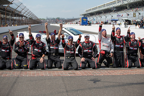 25.05.2015. Indianapolis, IN, USA.   Juan Pablo Montoya (2) celebrates with his team after kissing the bricks after the running of the 99th Indianapolis 500 in Indianapolis, IN.