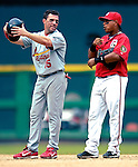 5 August 2007: St. Louis Cardinals outfielder Jim Edmonds (15) chats with former teammate Ronnie Belliard at second base during a time-out from the action against the Washington Nationals at RFK Stadium in Washington, DC. The Nationals defeated the Cardinals 6-3 to sweep their 3-game series...Mandatory Photo Credit: Ed Wolfstein Photo