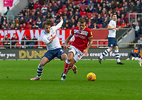 Preston North End's Ben Pearson (left) vies for possession with Bristol City's Eros Pisano (right) <br /> <br /> Photographer David Horton/CameraSport<br /> <br /> The EFL Sky Bet Championship - Bristol City v Preston North End - Saturday 10th November 2018 - Ashton Gate Stadium - Bristol<br /> <br /> World Copyright &copy; 2018 CameraSport. All rights reserved. 43 Linden Ave. Countesthorpe. Leicester. England. LE8 5PG - Tel: +44 (0) 116 277 4147 - admin@camerasport.com - www.camerasport.com