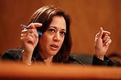 United States Senator Kamala Harris (Democrat of California) questions officials from the Department of Justice and the Department of Homeland Security during the US Senate Committee on Homeland Security and Government Affairs hearing on April 9, 2019 discussing unprecedented migration at the Southern Border of the United States.<br /> Credit: Stefani Reynolds / CNP