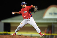Williamsport Crosscutters relief pitcher Carlos Indriago (45) during a game against the Batavia Muckdogs on September 2, 2016 at Dwyer Stadium in Batavia, New York.  Williamsport defeated Batavia 9-1. (Mike Janes/Four Seam Images)